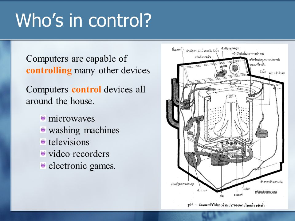 Who's in control Computers are capable of controlling many other devices. Computers control devices all around the house.