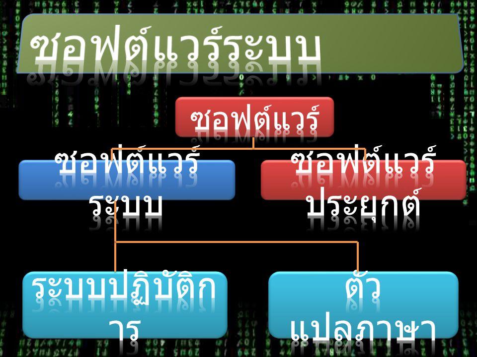 ซอฟต์แวร์ระบบ ซอฟต์แวร์ระบบ ซอฟต์แวร์ประยุกต์ ระบบปฏิบัติการ