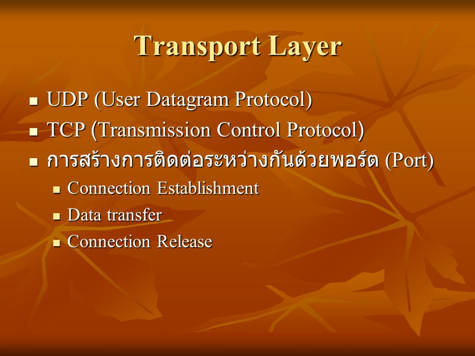 Transport Layer UDP (User Datagram Protocol)