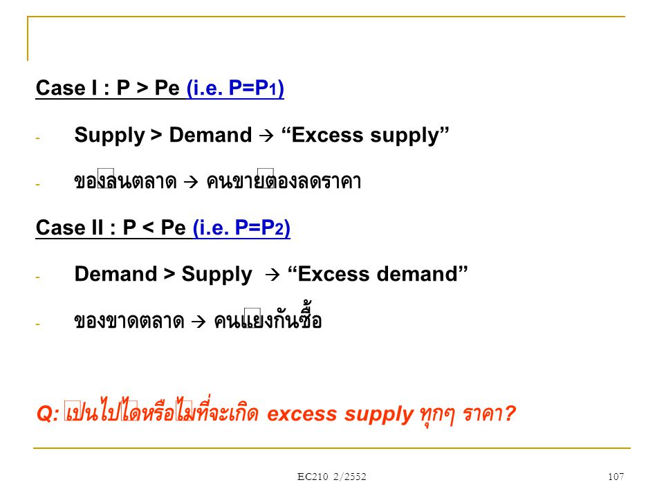 Case I : P > Pe (i.e. P=P1) Supply > Demand  Excess supply