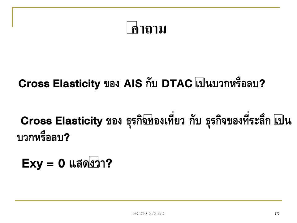 คำถาม Cross Elasticity ของ AIS กับ DTAC เป็นบวกหรือลบ Cross Elasticity ของ ธุรกิจท่องเที่ยว กับ ธุรกิจของที่ระลึก เป็นบวกหรือลบ