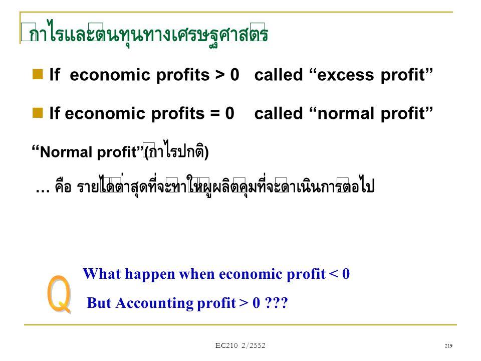กำไรและต้นทุนทางเศรษฐศาสตร์