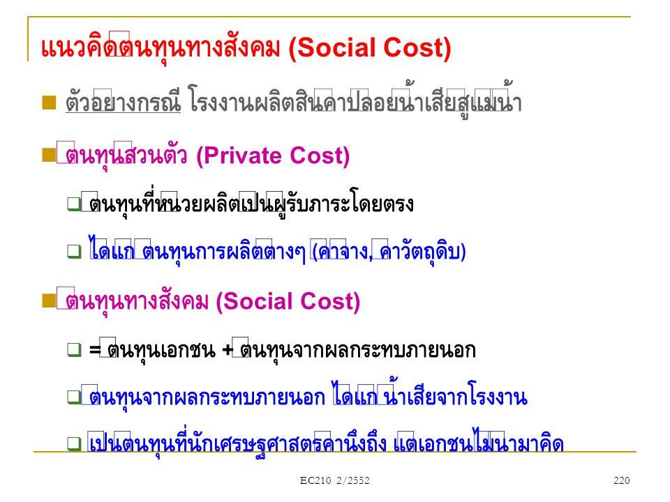 แนวคิดต้นทุนทางสังคม (Social Cost)