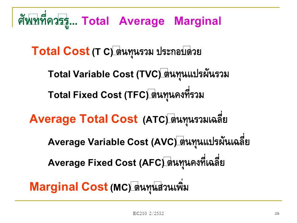 ศัพท์ที่ควรรู้... Total Average Marginal