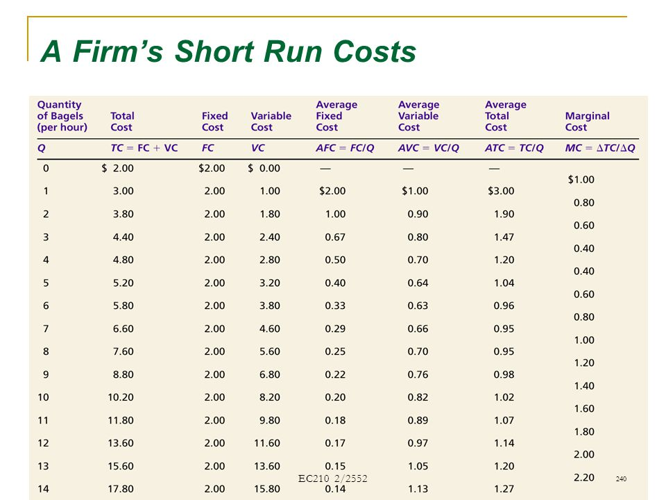 A Firm's Short Run Costs