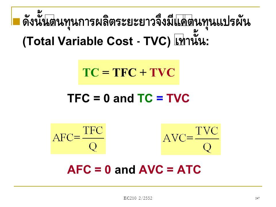 ดังนั้นต้นทุนการผลิตระยะยาวจึงมีแค่ต้นทุนแปรผัน (Total Variable Cost - TVC) เท่านั้น: