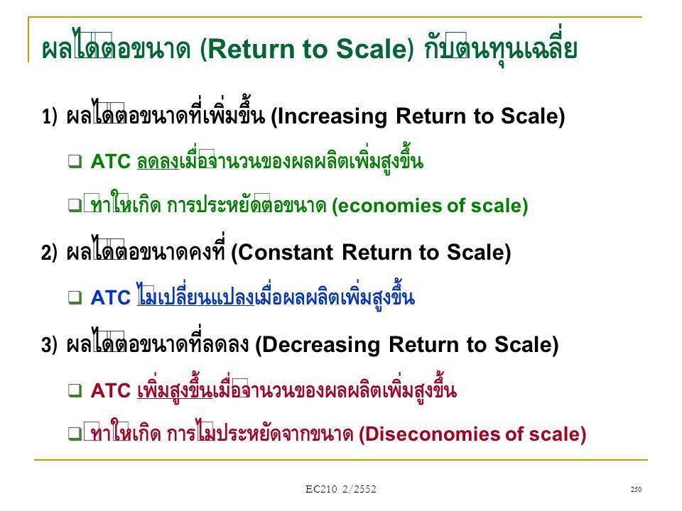 ผลได้ต่อขนาด (Return to Scale) กับต้นทุนเฉลี่ย