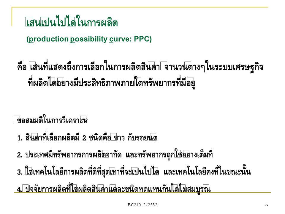 เส้นเป็นไปได้ในการผลิต (production possibility curve: PPC)