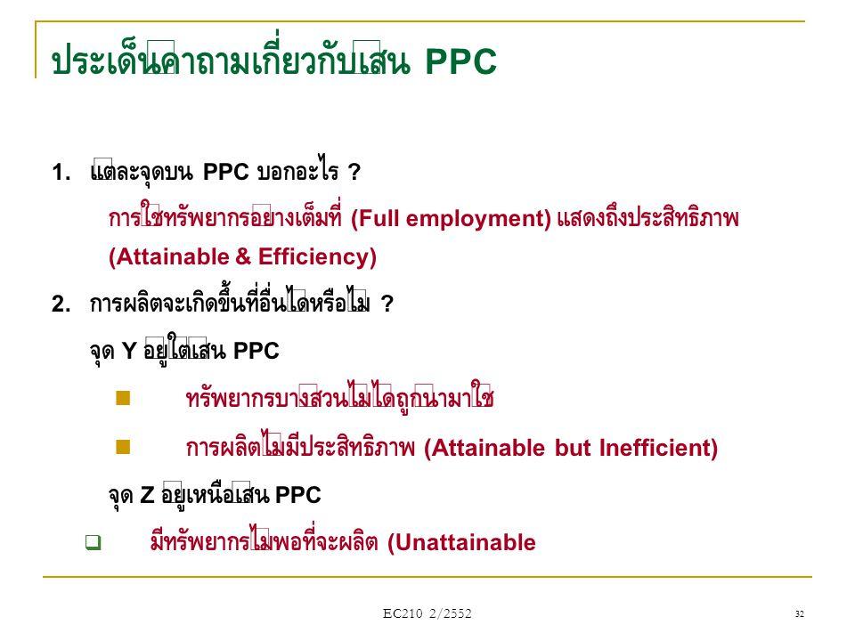 ประเด็นคำถามเกี่ยวกับเส้น PPC