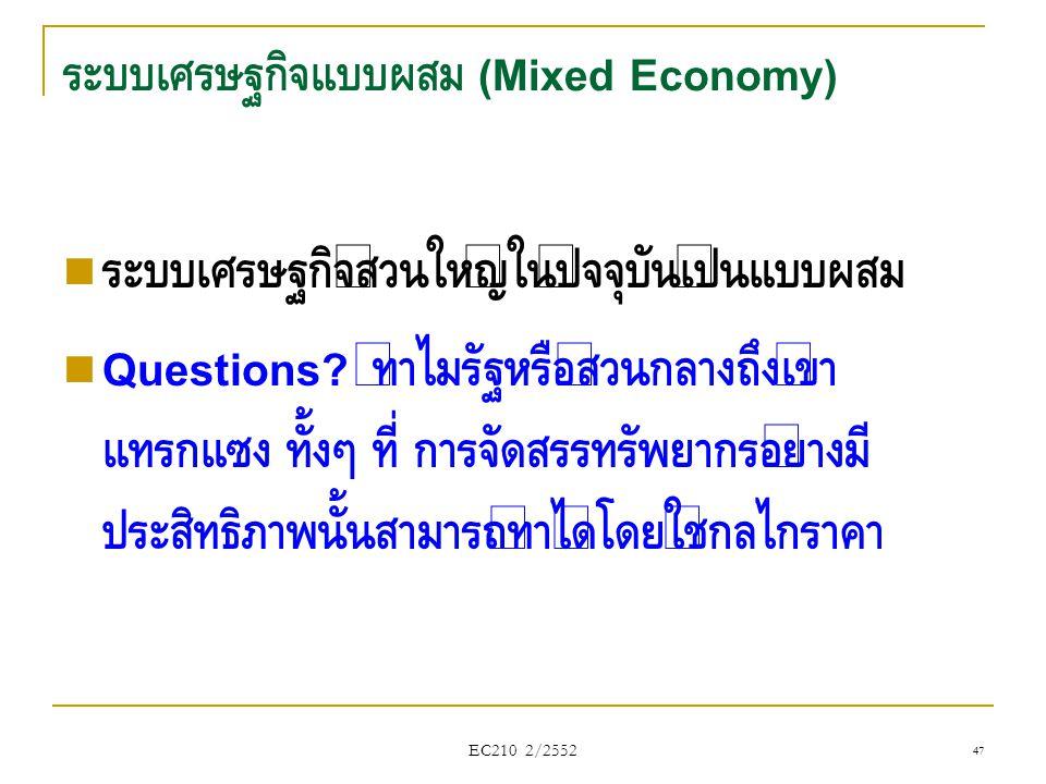 ระบบเศรษฐกิจแบบผสม (Mixed Economy)