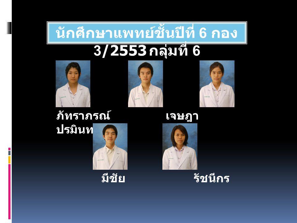 นักศึกษาแพทย์ชั้นปีที่ 6 กอง 3/2553 กลุ่มที่ 6