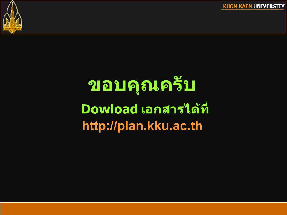 ขอบคุณครับ Dowload เอกสารได้ที่ http://plan.kku.ac.th