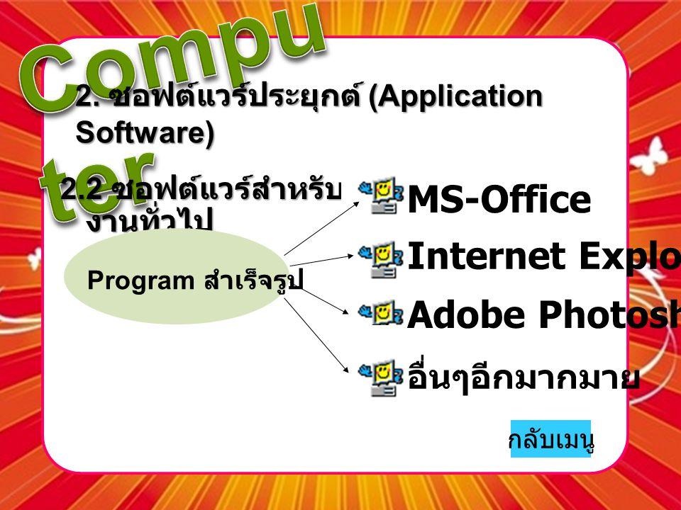 2. ซอฟต์แวร์ประยุกต์ (Application Software)