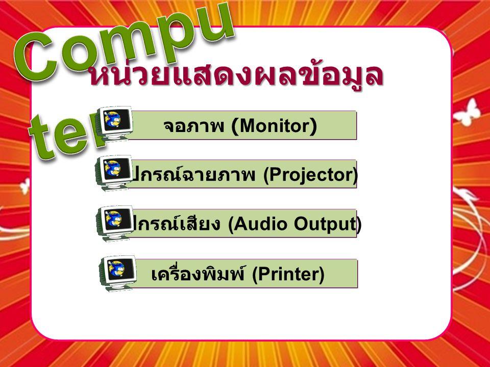 หน่วยแสดงผลข้อมูล จอภาพ (Monitor) อุปกรณ์ฉายภาพ (Projector)