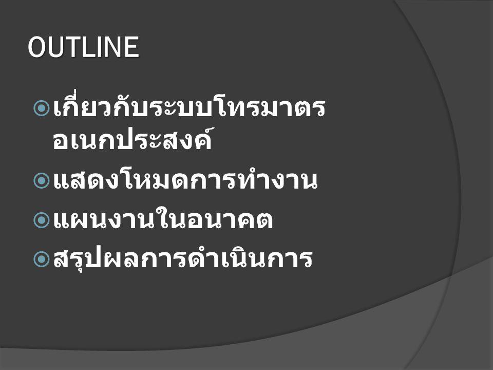 OUTLINE เกี่ยวกับระบบโทรมาตรอเนกประสงค์ แสดงโหมดการทำงาน แผนงานในอนาคต