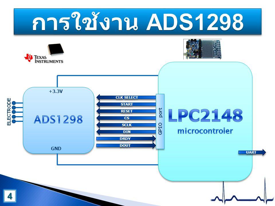 การใช้งาน ADS1298 LPC2148 microcontroler ADS1298 4 +3.3V ELECTRODE