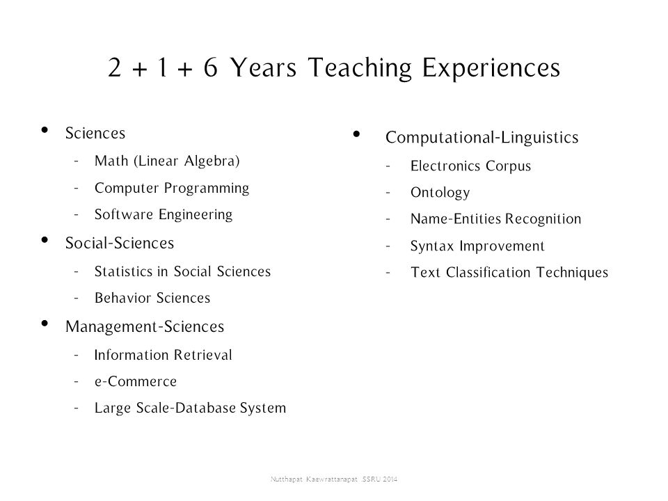 2 + 1 + 6 Years Teaching Experiences