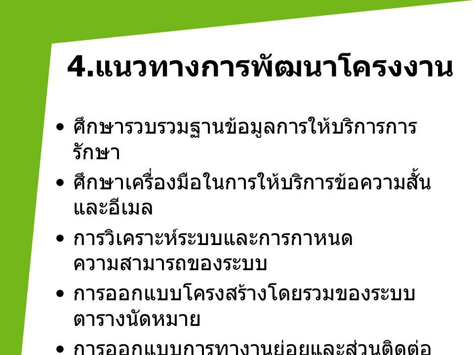 4.แนวทางการพัฒนาโครงงาน