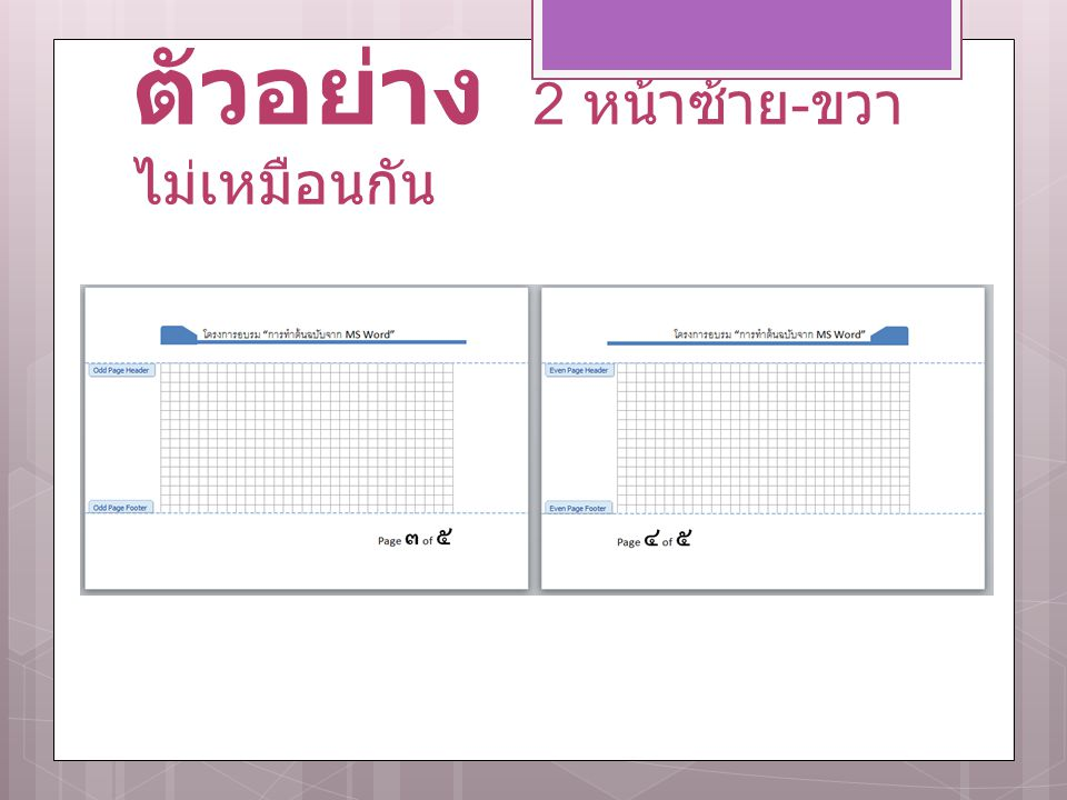 ตัวอย่าง 2 หน้าซ้าย-ขวา ไม่เหมือนกัน