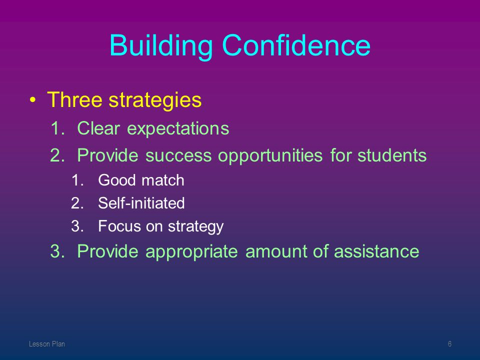 Building Confidence Three strategies Clear expectations