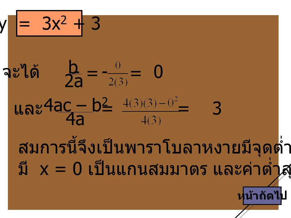 สมการนี้จึงเป็นพาราโบลาหงายมีจุดต่ำสุดที่ (0 , 3)