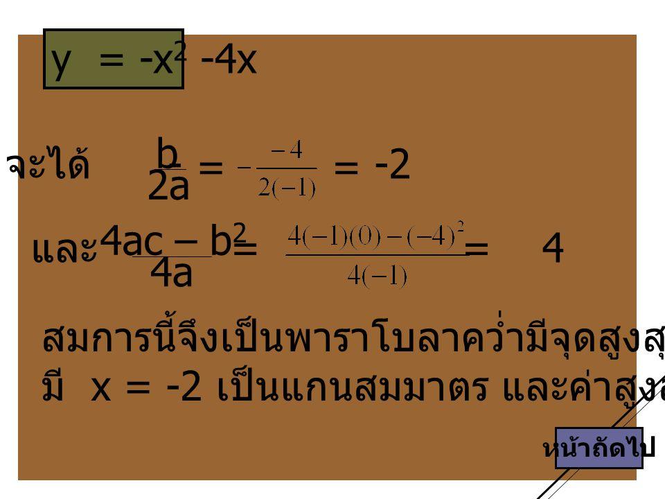 สมการนี้จึงเป็นพาราโบลาคว่ำมีจุดสูงสุดที่ (-2 , 4)