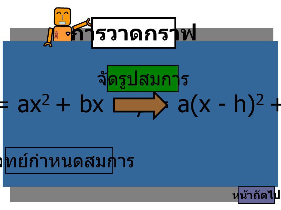 y = ax2 + bx + c y = a(x - h)2 + k การวาดกราฟ จัดรูปสมการ