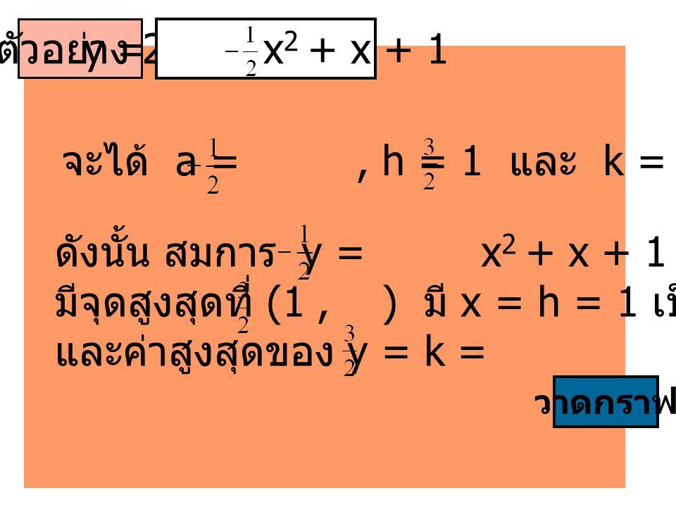 ดังนั้น สมการ y = x2 + x + 1 เป็นกราฟคว่ำ