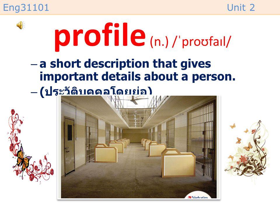 profile (n.) /ˈproʊfaɪl/