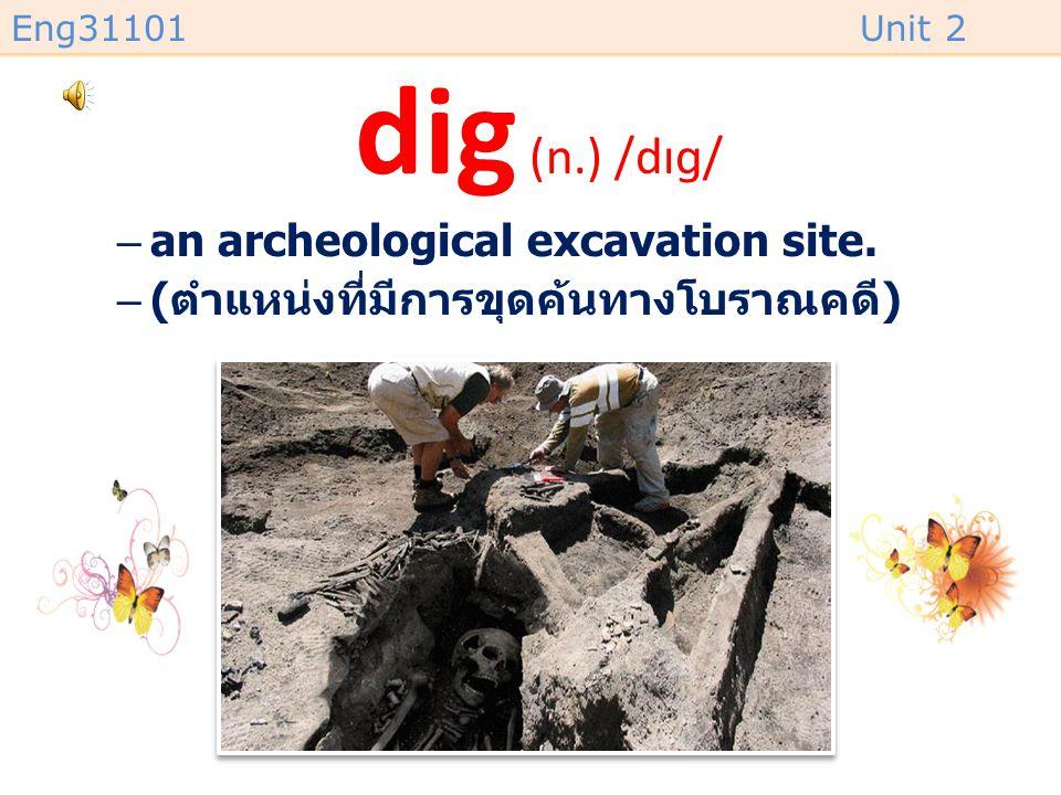 dig (n.) /dɪɡ/ an archeological excavation site.