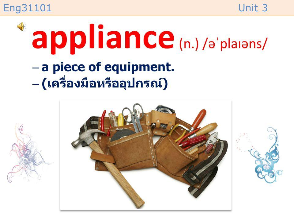 appliance (n.) /əˈplaɪəns/