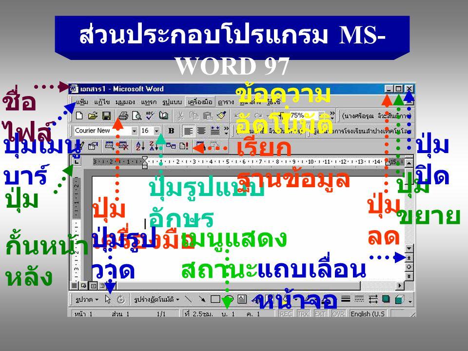 ส่วนประกอบโปรแกรม MS-WORD 97