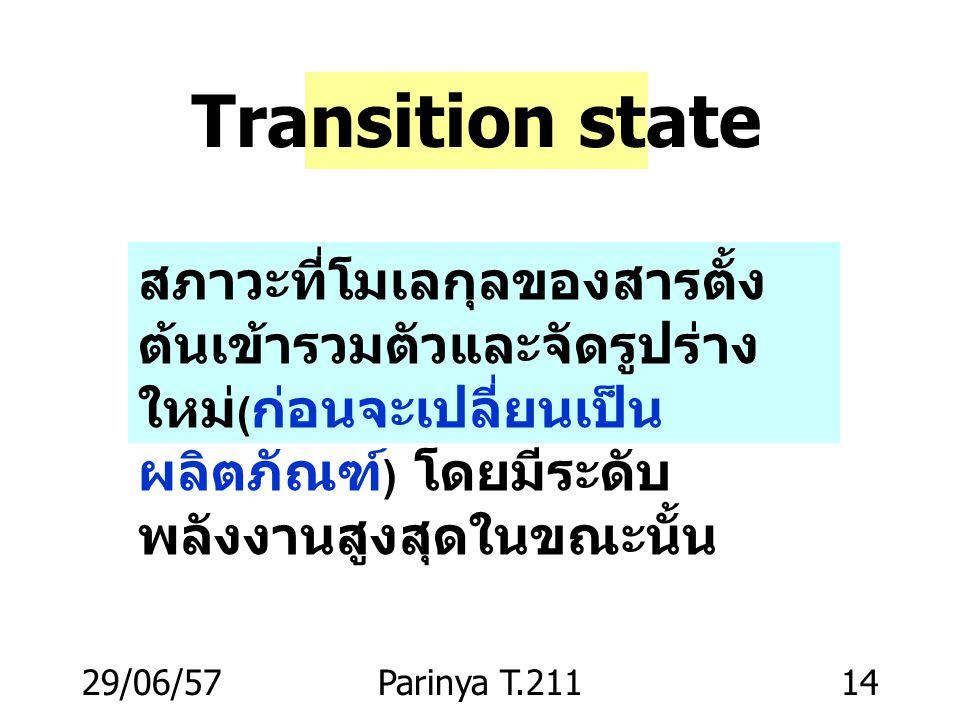Transition state สภาวะที่โมเลกุลของสารตั้งต้นเข้ารวมตัวและจัดรูปร่างใหม่(ก่อนจะเปลี่ยนเป็นผลิตภัณฑ์) โดยมีระดับพลังงานสูงสุดในขณะนั้น.