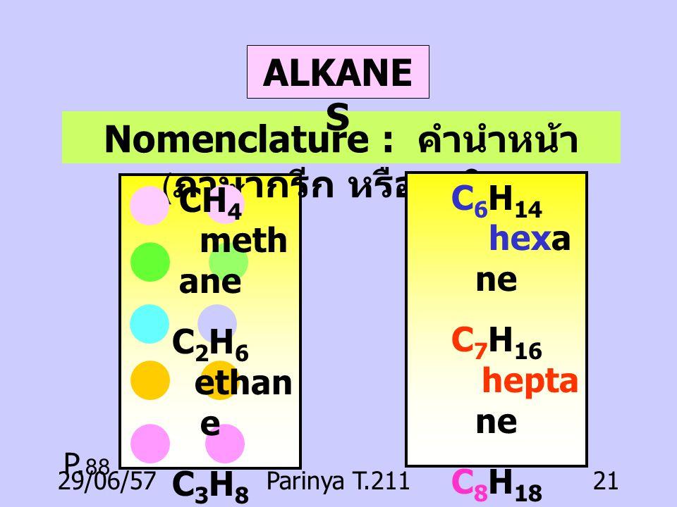 Nomenclature : คำนำหน้า(ภาษากรีก หรือละติน)
