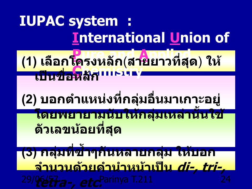 IUPAC system : International Union of Pure and Applied Chemistry