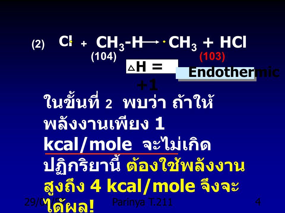 . (2) + CH3-H CH3 + HCl. Cl. (104) (103) H = +1. Endothermic.