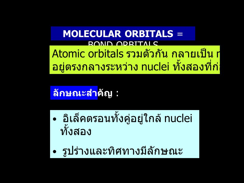 MOLECULAR ORBITALS = BOND ORBITALS