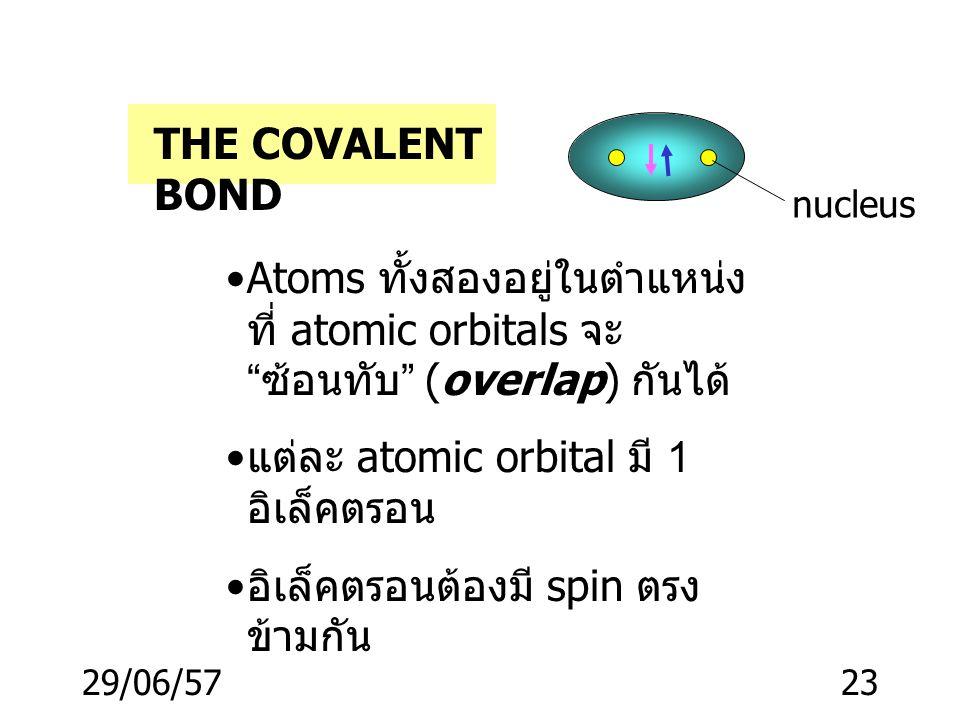 แต่ละ atomic orbital มี 1 อิเล็คตรอน อิเล็คตรอนต้องมี spin ตรงข้ามกัน