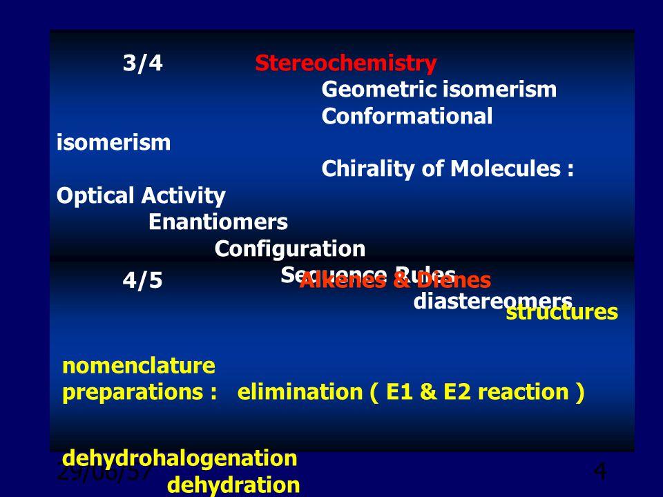 3/4 Stereochemistry Geometric isomerism. Conformational isomerism.