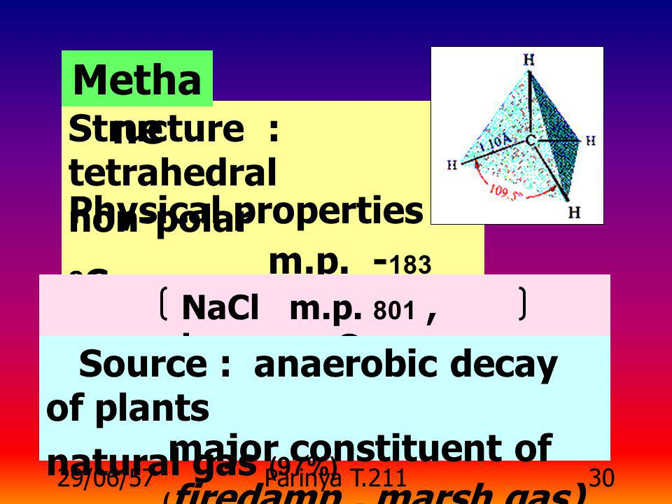 Methane Structure : tetrahedral Physical properties : non-polar