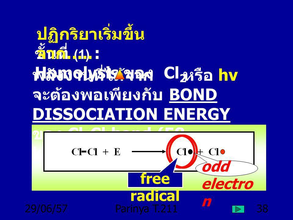 ปฏิกริยาเริ่มขึ้นจาก….. ขั้นที่ (1) : Homolysis ของ Cl2
