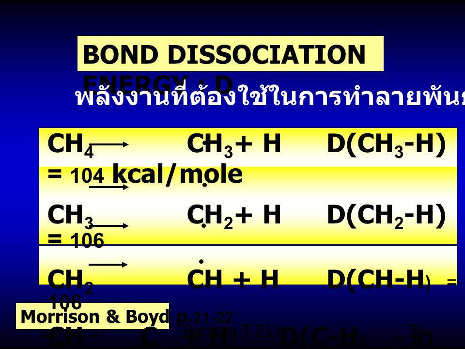 BOND DISSOCIATION ENERGY : D