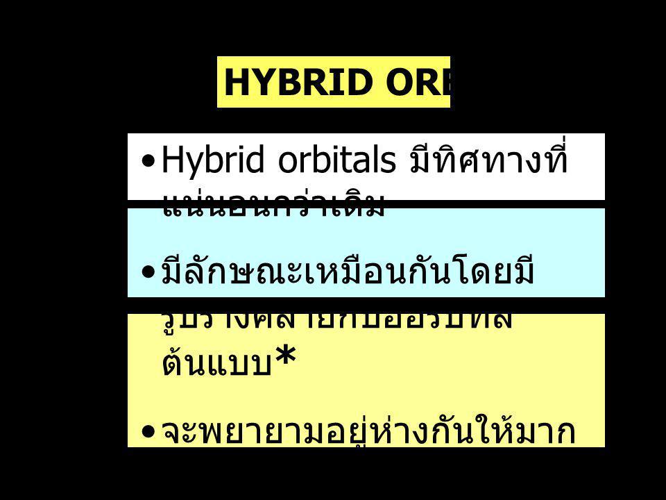Hybrid orbitals มีทิศทางที่แน่นอนกว่าเดิม