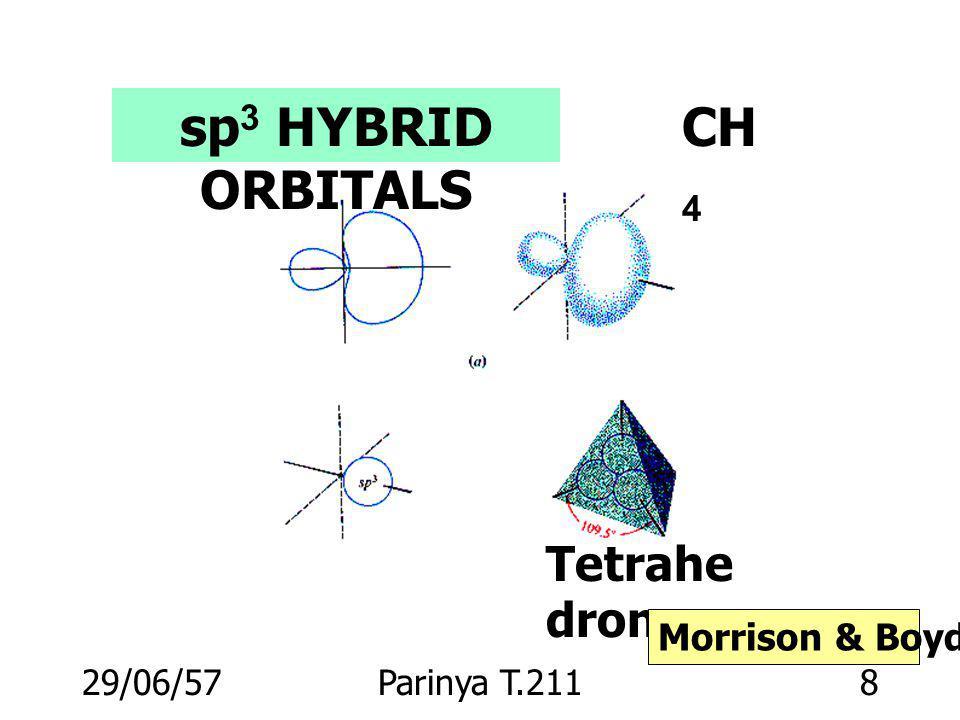 sp3 HYBRID ORBITALS CH4 Tetrahedron Morrison & Boyd p.16 03/04/60