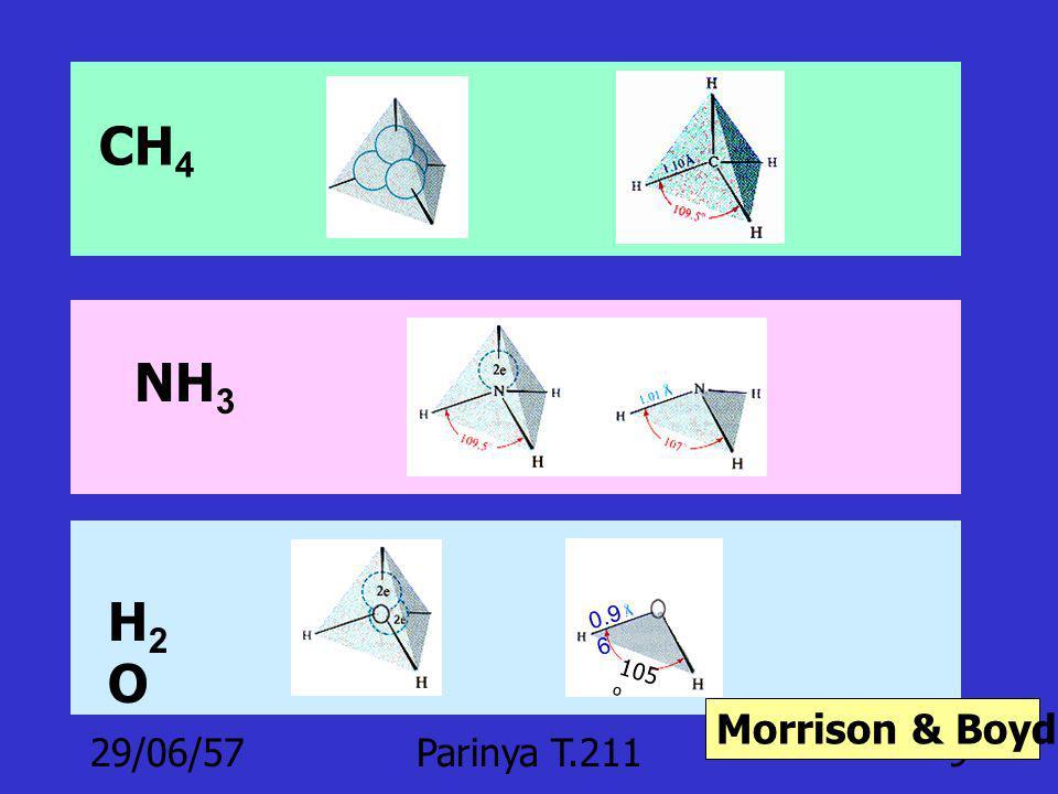 CH4 NH3 105o 0.96 H2O Morrison & Boyd p.18-19 03/04/60 Parinya T.211
