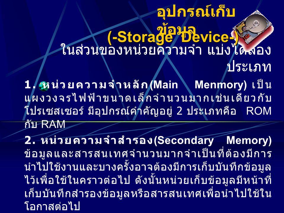 อุปกรณ์เก็บข้อมูล (-Storage Device-)