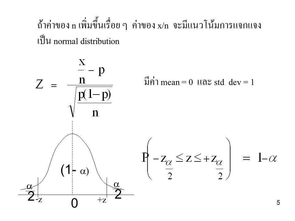 ถ้าค่าของ n เพิ่มขึ้นเรื่อย ๆ ค่าของ x/n จะมีแนวโน้มการแจกแจง