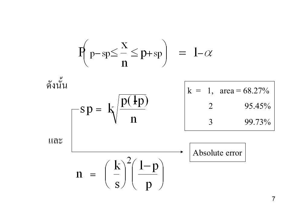 ดังนั้น k = 1, area = 68.27% 2 95.45% 3 99.73% และ Absolute error