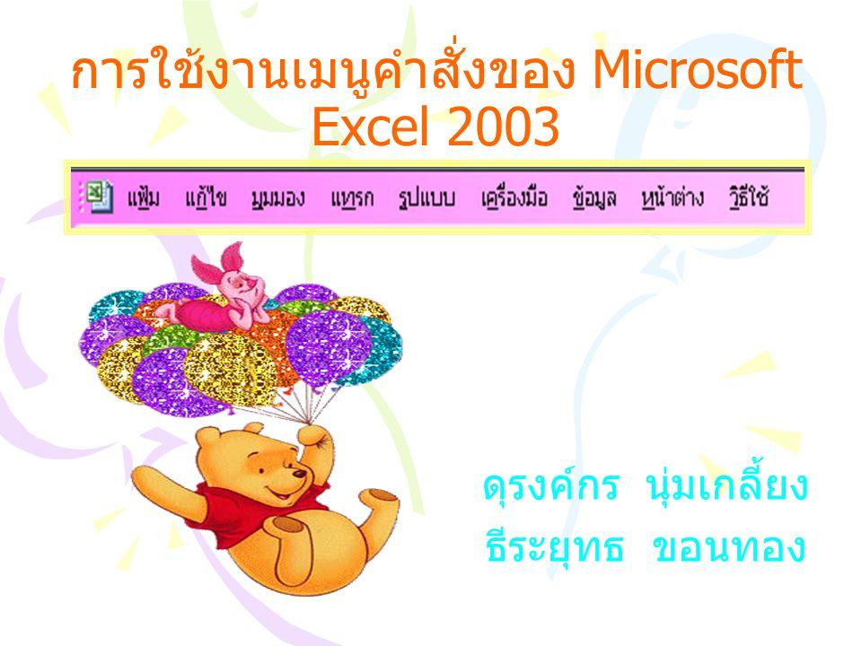 การใช้งานเมนูคำสั่งของ Microsoft Excel 2003