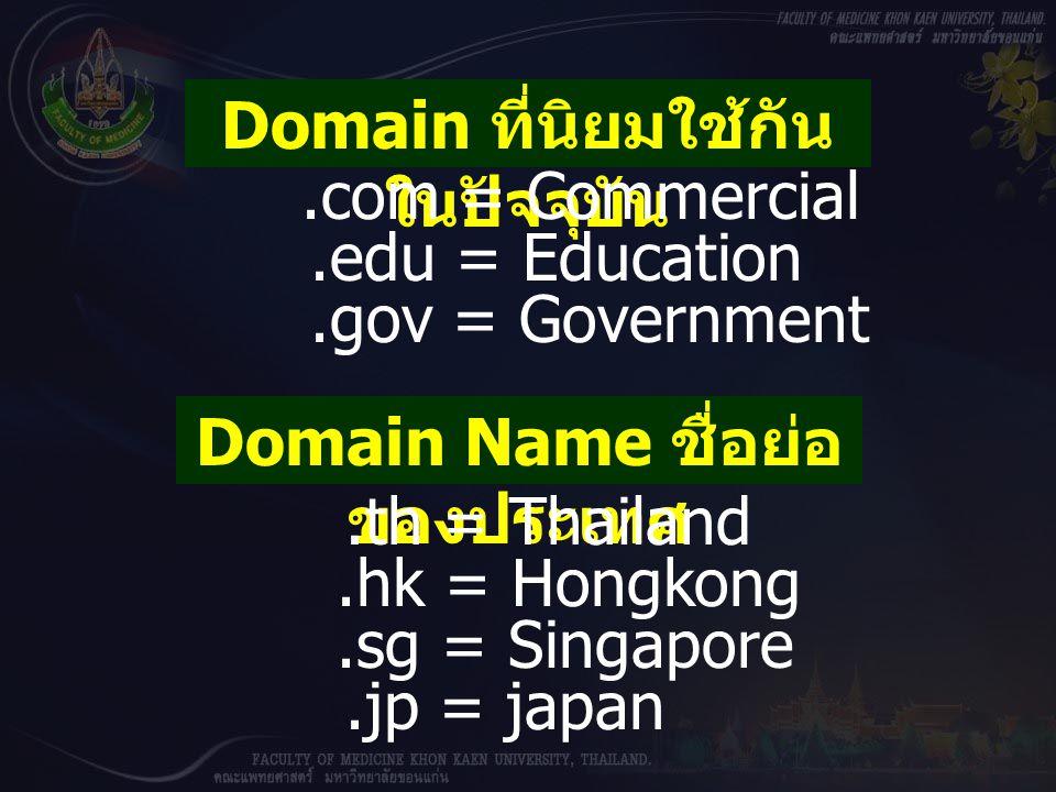 Domain ที่นิยมใช้กันในปัจจุบัน Domain Name ชื่อย่อของประเทศ